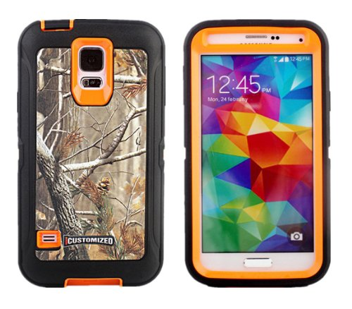 iCustomized TM Black and Orange Rugged Heavy Duty Hard Dual Layer Weather and Water Resistant Case with Camouflage Woods Design for the NEW Samsung Galaxy S5 ATT - Verizon - T-Mobile - Sprint