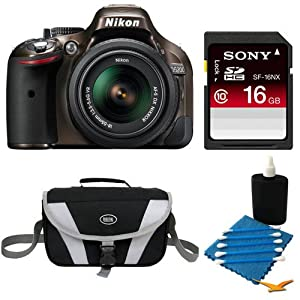 Nikon D5200 DX-Format Bronze Digital 16 GB SLR Camera and 18-55mm VR Lens Bundle - Includes camera, 16 GB Secure Digital High Capacity (SDHC) Memory Card, Compact Deluxe Gadget Bag, and 3pc. Lens Cleaning Kit