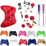 HDE Custom Replacement Wireless Game Controller Shell Case Cover Kit for Xbox 360 - Includes Button Set, Torx & Phillips Head Screwdrivers (Red)
