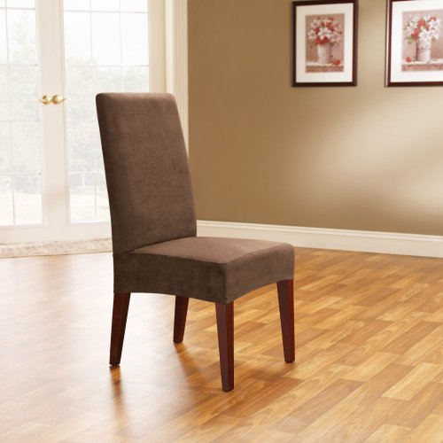 Sure Fit Soft Suede Shorty Dining Room Chair Slipcover, Chocolate front-919664