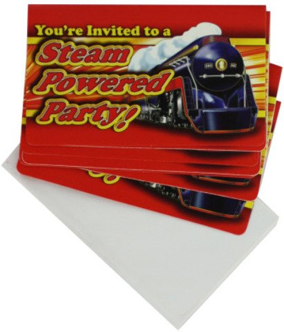 "8-Pack Train Theme Party Invitations [36 Pieces] *** Product Description: 8-Pack Of Party Invitations With A Featured Steam Train. Invites Measure 3.5""X5"". ***"