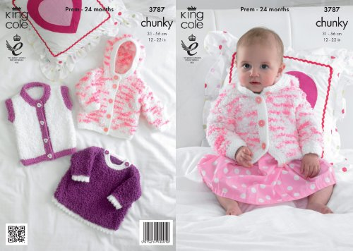 King Cole Cuddles Chunky Knitting Pattern Baby Knitted Jacket Angel Top & Gilet 3787