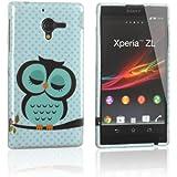 tinxi® Design Schutzhülle für Sony Xperia ZL / Xperia ZL LTE Hülle TPU Silikon Rückschale Schutz Hülle Tache Silicon Case Cover Eule Uhu Kauz Owl in hellgrün