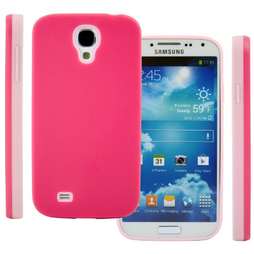 Celljoy Hybrid Tpu 2Pc Layered Hard Case Rubber Bumper For Samsung Galaxy S4 Siv (At&T / Verizon / Us Cellular / Sprint / T-Mobile / Unlocked) [Celljoy Retail Packaging] (Hot Pink & Light Pink)