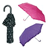Drizzles Womens/Ladies Compact Umbrella Crook Handle With A Frilled Edge, Purple