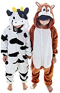 Tjia Winter Kid Cosplay Cow Squirrel Flannel Animal Pajamas