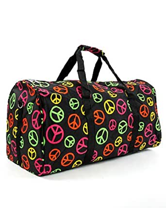 World Traveler Multicolor Peace Sign Gym Duffle Bag 21-inch