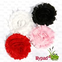 Lilypad Brand- Frayed Shabby Chick Rose 4 Piece Hair Flower Clips (2.5 inches)