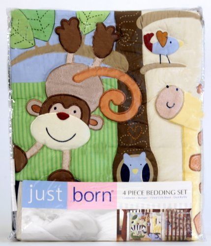 Just Born 4 Piece Crib Bedding Set - Flutters And Flowers front-564283