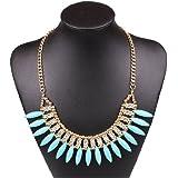 Qiyun ürkis Blauen Oval Bead Fransen Charme Strass Bib Halsband Halskett Halskette Anhänger Halsketten Ketten