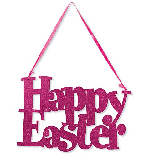 Creative Converting 141091 Happy Easter Die-Cut Glitter Sign with Ribbon Hanger, Pink