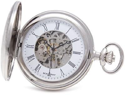 Bouverat 1919 Pocket Watch BV824207 Rhodium Plated Half Hunter