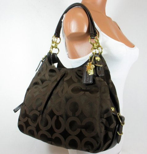 NEW AUTHENTIC COACH MIA OP ART SATEEN LARGE MAGGIE HOBO BAG (Brown/Mahogany