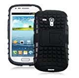JKase DIABLO Series Tough Rugged Dual Layer Protection Case Cover with Build in Stand for Samsung Galaxy S3 III Mini I8190 - Retail Packaging - Black
