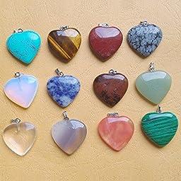 Fashion Natural Mixed Heart Gemstone Stone Pendants 12Pcs/Lot 25X25Mm