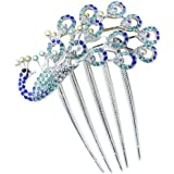 niceeshop(TM) Lovely Vintage Jewelry Crystal Peacock Hair Clips Hair Accessories