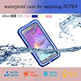 Queens Designed Samsung Galaxy Note 4 IV Ultra Water Resistant Waterproof Shockproof Crashproof Dustproof Dirt Proof Snow Proof Sand Proof Swimming Diving Hard Skin Protective Bumper Case Cover Defender with Impact Resistant Screen Protector Dirt Proof Durable Case Cover for Samsung Galaxy Note4 IV With Clear Screen Protector (1-Blue)