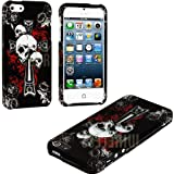 "myLife (TM) White + Black Gothic Skulls and Cross Series (2 Piece Snap On) Hardshell Plates Case for the iPhone 5/5S (5G) 5th Generation Touch Phone (Clip Fitted Front and Back Solid Cover Case + Rubberized Tough Armor Skin + Lifetime Warranty + Sealed Inside myLife Authorized Packaging) ""ADDITIONAL DETAILS: This two piece clip together case has a gloss surface and smooth texture that maximizes the stylish appeal of your iPhone 5 and brings out the unique colors and designs in the case itself."""