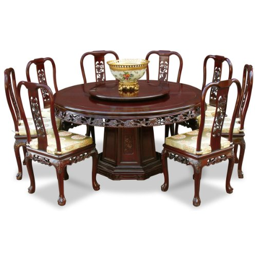 60in Queen Ann Grape Motif Rosewood Round Dining Table With 8 Chairs Cherry