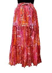 Cotton Breeze Women's Cotton Long Skirt (FP238, Orange)
