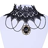 Yazilind Jewelry Lace Collar Necklace Gothic Lolita Acrylic Pendant Tassel Chain Sexy Noble for Women
