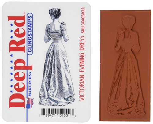 Deep Red Stamps Victorian Evening Dress Rubber Stamp