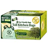 Green N Pack Eco Friendly 13 Gallon Drawstring Bag, Tall Kitchen Trash Bags, 40-Count