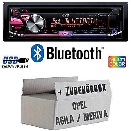 OPEL AGILA A MERIVA A Noir-JVC KD r971bt-Kit de montage autoradio CD/MP3/USB Bluetooth Multicolore -