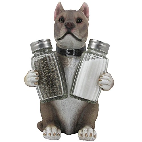 Decorative Pit Bull Glass Salt and Pepper Shaker Set with Holder Figurine in Dog Statues & Sculptures and Pitbull Kitchen Table Decor Gifts for Pet Lovers