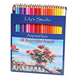 LILY'S STUDIO 48 Colored Pencils Set for Adult Coloring, Premier Artist Grade AQUARINO Watercolor Pencils, BONUS Paint Brush and Pencil Sharpener Included, Break Resistant Water Soluble Core