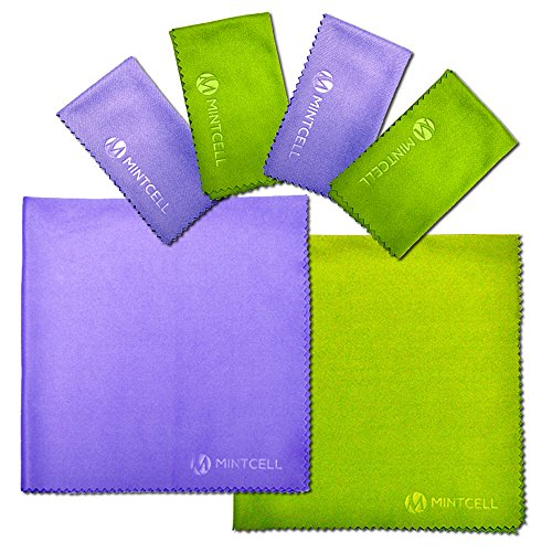 MintCell Premium Microfiber Cleaning Cloth 6-Pack (2pcs 12″X12″, 4pcs 7″x6″) For Cell Phone, Tablets, Laptop, LCD TV Screens, Glasses, Camera, and Any Other Delicate Lenses and Devices