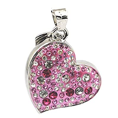 Pink Heart 8GB Fashion Crystals Jewelry USB 2.0 Flash Memory Pen Drive Pendant for Necklace by pengyuan