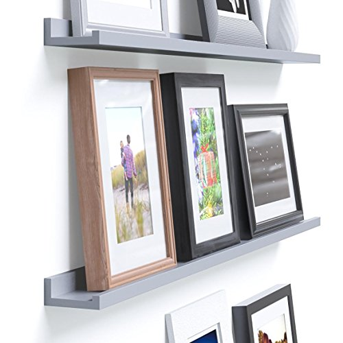 Denver Modern Floating Wall Ledge Shelf for Pictures and Frames 46 Inches Long , Gray ...