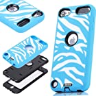 Oksobuy® the New Sky Blue White Zebra Combo Hard Soft High Impact Armor Case Skin Gel for Apple Ipod Touch Generation 5 (Touch 5 Case)-0402