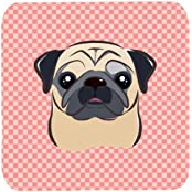 "Caroline's Treasures BB1262FC Checkerboard Pink Fawn Pug Foam Coaster (Set Of 4), 3.5"" H X 3.5"" W, Multicolor"