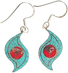 Exotic India Swayambhunath Eyes Inlay Earrings - Sterling Silver