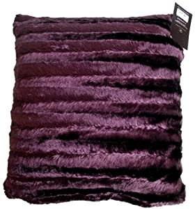 "Homefurnishing Shiny Stripe Grape Faux Fur Cushion Cover 18"" x 18""/45 x 45cm"