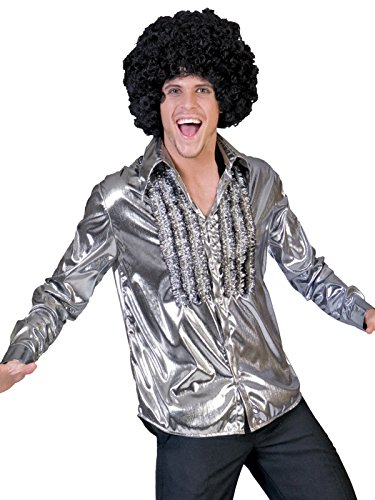 Metallic Gunmetal Silver Shirt with Front Ruffles Mens 70s Costumes