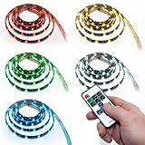 7m LED RGB Strip Leiste Band IP 65 wasserabweisend SMD 5050 mit 210 LEDs inkl. Netzteil + Fernbedienung Komplett Set mehrfarbig