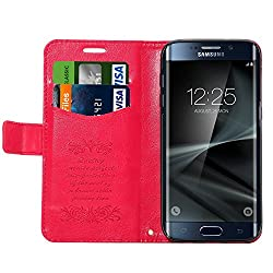 S7 Edge Case, Galaxy S7 Edge Wallet Case, Pasonomi® [Card Slot] Premium PU Leather Flip Cover Folio with Stand for Samsung Galaxy S7 Edge 2016 (Hot Pink)