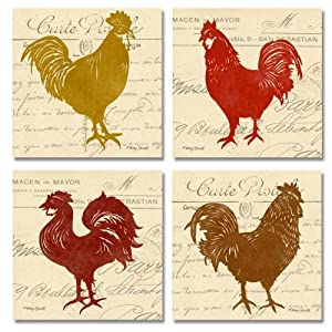 Wallsthatspeak 4 bright tuscan rooster graphic for Italian kitchen prints