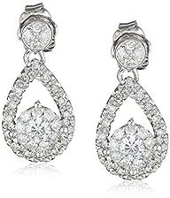 14k White Gold Teardrop Diamond Earri…