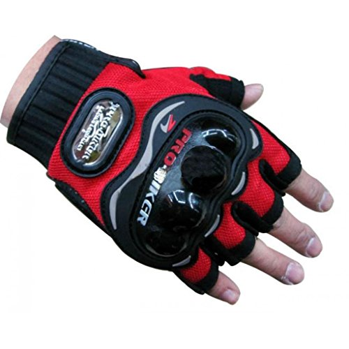 Probiker Half Cut Gloves for Motorcycle Scooter (Red, M)