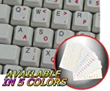 DVORAK SIMPLIFIED KEYBOARD STICKERS WITH RED LETTERING ON TRANSPARENT BACKGROUND