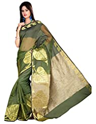 "Asavari ""Golden Leaf"" Olive Green Net Banarasi Saree With Faux Jute Pallu"