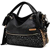 Atdoshop(TM) Mode Casual Leopard Quasten Handtaschen-Frauen Paillette Messenger Bag