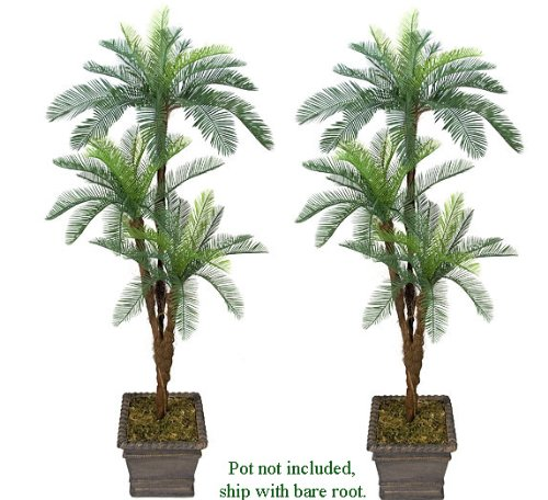 TWO 6' Cycas Tripled Artificial Palm Tree Silk Plant _Plastic Fronds