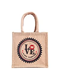 "WMM Craft Velentine Special Collection, Small/mini Jute Gift Bag, With Happy Valentine Quote, Print, 8""x8""x5.5... - B01AWZUFPM"