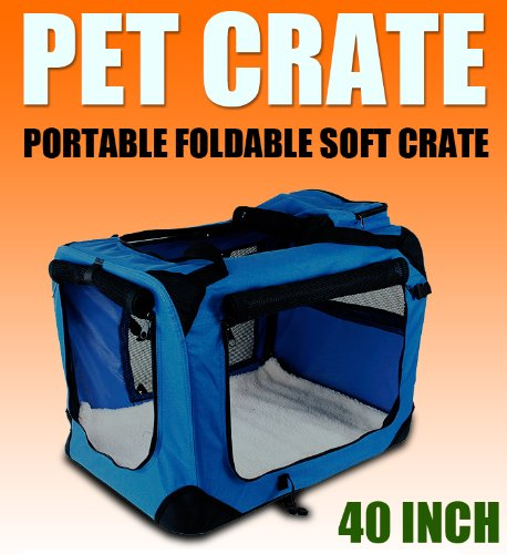 New Xl Dog Pet Puppy Portable Foldable Soft Crate Playpen Kennel House - Blue front-1072716