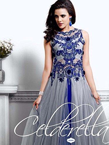 UFS Women's Blue White Soft Net Semi Stitched Anarkali Dress Salwar Suit Gown